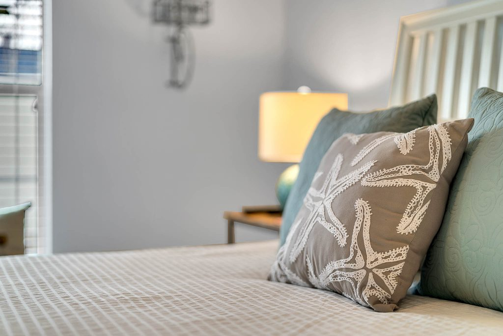 closeup view of bedroom linens in Clermont Cabanas in Clermont FL